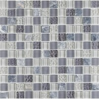 Sophie Soft Grey Glass and Silver stone Mosaic
