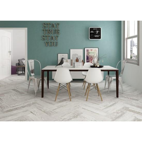 Tavola Rustic White Bianco Wood Effect Bathroom, Kitchen, Hallway Tile 15.6CMx60CM
