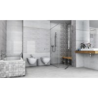 Cará Light Grey 30x90 Ceramic Gloss Wave Kitchen And Bathroom Wall Tile