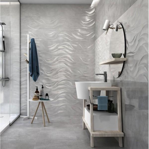Kalos Dark Grey 30x90 Ceramic Gloss Wave Kitchen And Bathroom Wall Tile