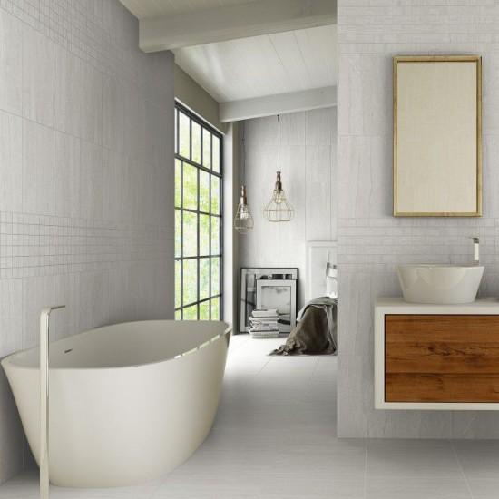 Stone Parallel Dark Grey Gloss  20CMx40CM Ceramic Kitchen And Bathroom Wall Tile