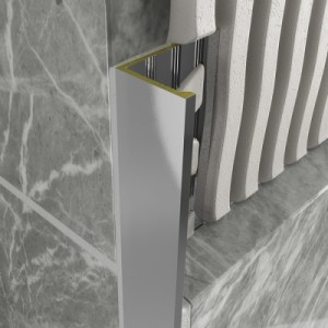 Chrome Metal Decorative Straight Square Tile Trims 10mm x 2.4m