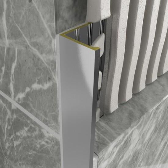 Chrome Metal Decorative Straight Square Tile Trims 8mm x 2.4m