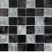 Black/Silver Leaf Mix Glass Mosaic 48x48mm