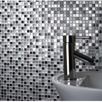 Sparkle Chrome/Black/White Glass/Metal Mix Mosaic 15x15mm