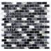 Black Glass/Stone/Pearl Mix Mini Brick Mosaic 15x30mm