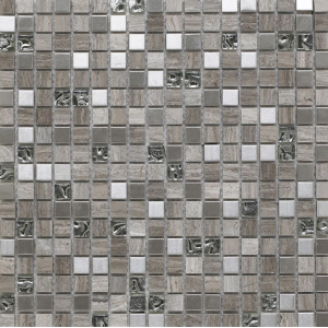 Cedar Grey Glass/Stone/Metal Mix Mosaic 15x15mm