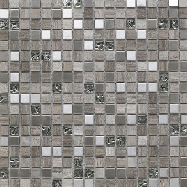 Cedar Grey Glass Stone Metal Mix Mosaic 15x15mm