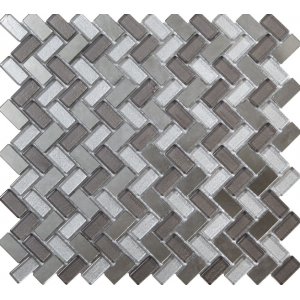 Dusk Grey Herringbone Glass & Mirror Mosaic 15x30mm
