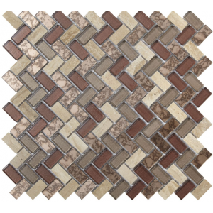 Copper Herringbone Glass & Stone Mosaic 15x30mm