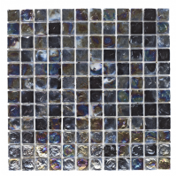 Black Hammered Glass Mosaic Sheet 30CM x 30CM