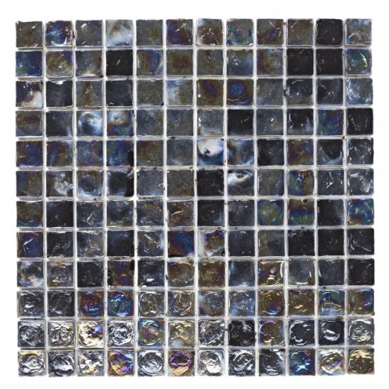 Black Hammered Glass Mosaic Sheet 30CM x 30CM