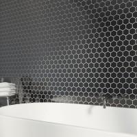 Black Hexagan 30CM x 30CM Mosaic Sheet