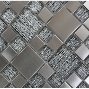 Utopia Grey Glass/Metal Mix 30CMx30CM Mosaic Sheet
