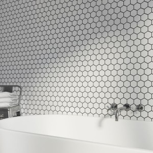 White Hexagan 30CM x 30CM Mosaic Sheet
