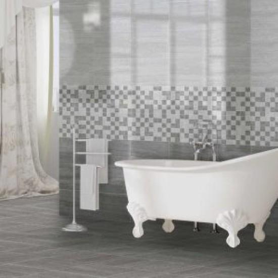 Stone Parallel Dark Grey Grafito Gloss Wall Bathroom and Kitchen Tile 33CMx55CM