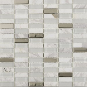 Hutton White Glass, Stone and chrome mosaic