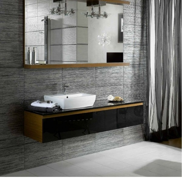 metallic chrome porcelain kitchen and bathroom wall and