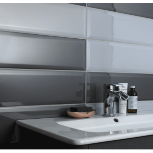 Victoria A Metro Grey Bevel Gloss Wall 148mm x 498mm x 9mm