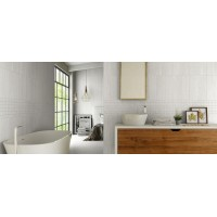 Stone Parallel Light Grey Gloss 25CMx40CM Ceramic Kitchen And Bathroom Wall Tile