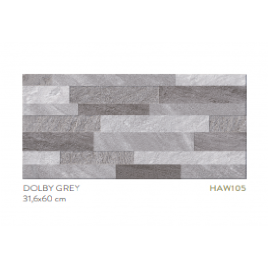 45.6m2- Pallet-Dolly Grey 31.6cmx60cm Wall Tiles