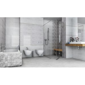 Cará Light Grey 30x90 Ceramic Gloss Kitchen And Bathroom Wall Tile