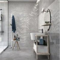 Cará Dark Grey 30x90 Ceramic Gloss Wave Kitchen And Bathroom Wall Tile