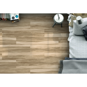 Henzo Rectified Glazed Porcelain Glossy Wood Effect Tile Gris 22,5CMx119,5CM