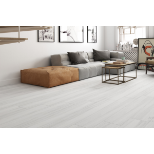 Henzo Rectified Glazed Porcelain Glossy Wood Effect Tile Blanco 22,5CMx119,5CM