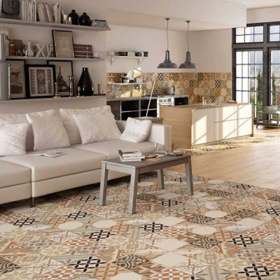 Moments Vintage Pattern Beige 45CMx45CM Bathroom And Kitchen Wall And Floor Glazed Ceramic Tile