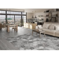 Moments Vintage Pattern Grey Feature Wall And Floor Tile Kitchen And Bathroom 45CMx45CM