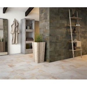 Queryon Ivory Slate Effect Glazed Porcelain Wall & Floor 30x60