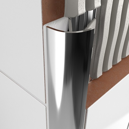 Chrome Metal Decorative Round Tile Trims 8mmx2.4m