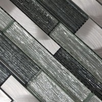 Ashbee Silver Glass/Stone/Metal Mix Offset Linear Mosaic
