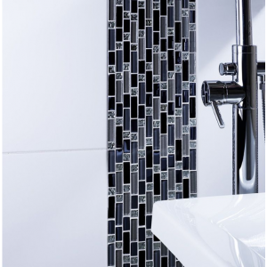 Silver/Blue Mix Random Length Glass Mosaic