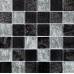 Black/Silver Leaf Mix Glass Mosaic 48x48mm