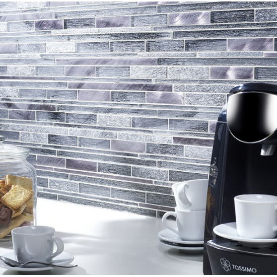 Kenton Grey Glass/Stone/Metal Mix Offset Linear Mosaic