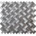 Dusk Grey Herringbone Glass & Mirror Mosaic 15x30mm