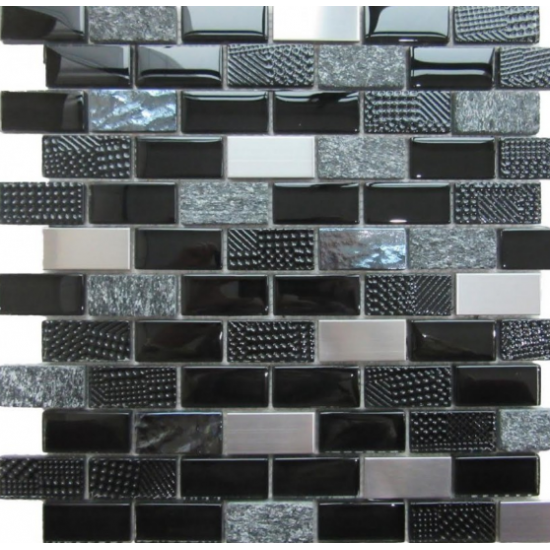 Altea Black Glass/Stone/Metal Mosaic 30CM x 30CM