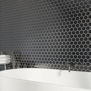 Black Hexagan 30CM x 30CM Mosaic Sheet