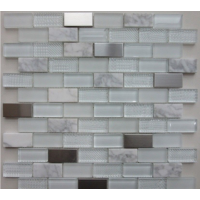 Altea White Glass/Stone/Metal Mosaic 30CM x 30CM
