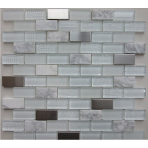 Altea White Glass/Stone/Metal Mosaic 30CM x 30CM