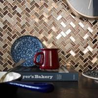 Copper Herringbone Glass & Stone Mosaic 15x30mm