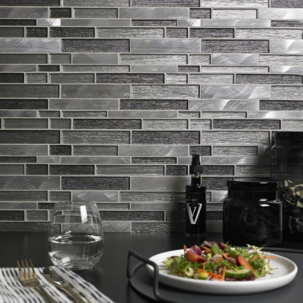 Ashby Grey Glass Amp Metal Mix Offset Linear Mosaic